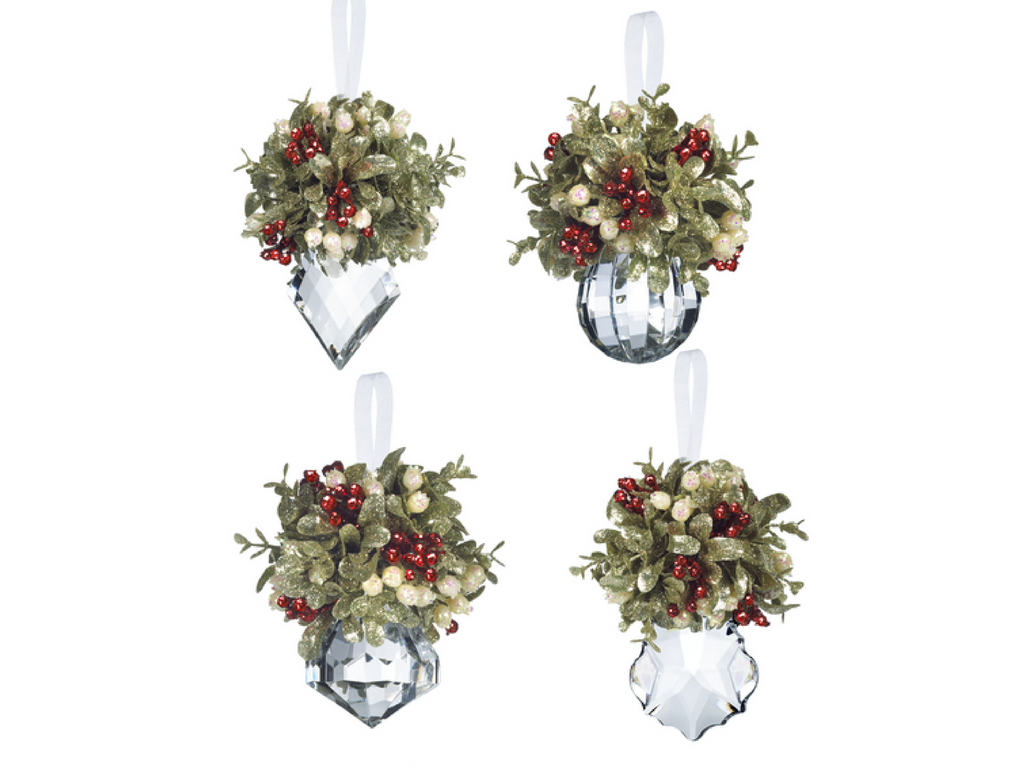 cryatal and holly ornaments
