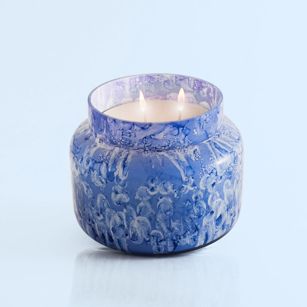 capri blue watercolor candle