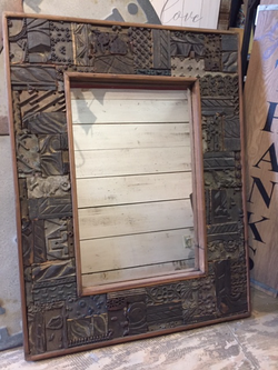Mirror Made from Antique Carved Print Blocks