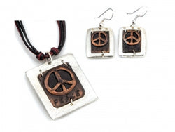 Copper Necklace & Earring Set | Peace Sign
