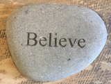 Breathe, Peace, Imagine, Believe Laser Cut Inspirational Rocks
