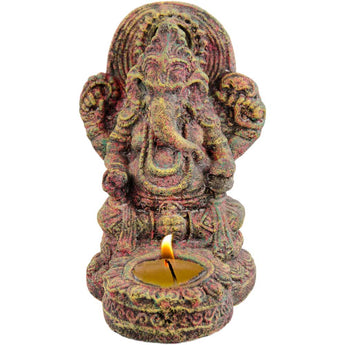 Volcanic Statue Ganesha Chakra - with tea light holder