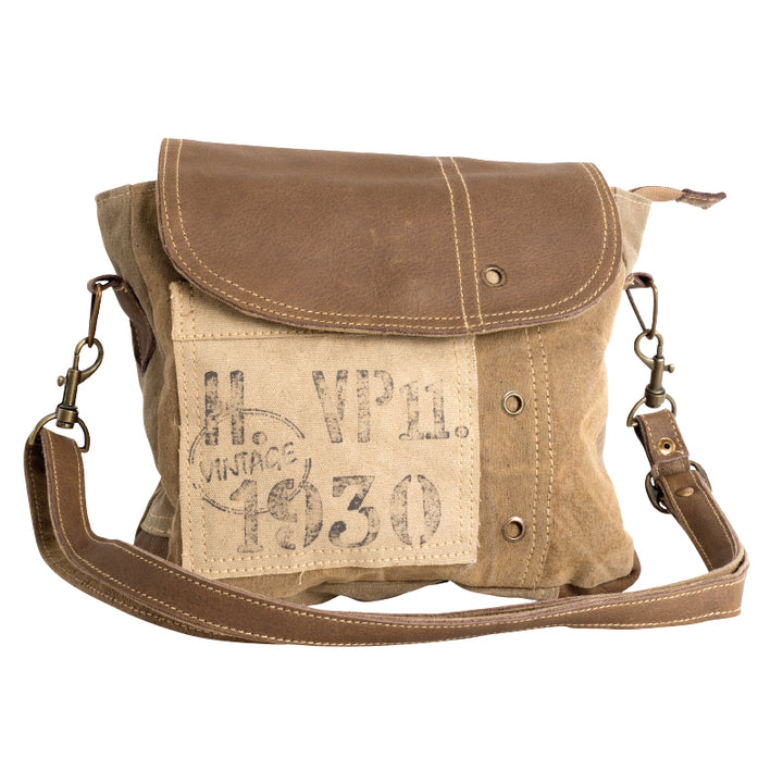 VIN 1930 WITH LEATHER STRAP CROSSBODY| Recycled Canvas Bag
