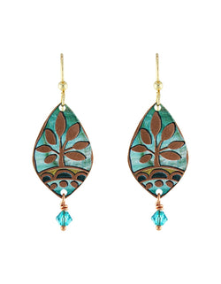 Teal & Copper Tree Earrings - Handmade