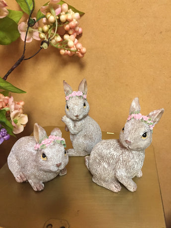 Resin Bunnies with Floral Headband - Set of 3