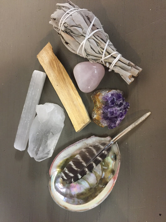 Cleansing Smudging Kit with Crystals