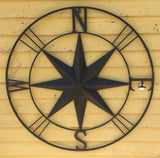 "39"" Compass Metal Wall Hanging"