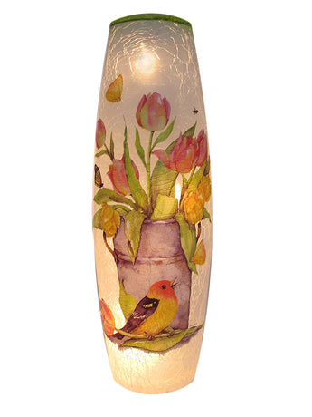 Lighted Glass Lantern With Bird & Flowers