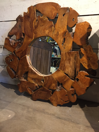 Organic Shaped Wood Slab Mirror