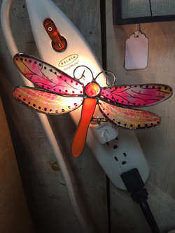 Stain Glass Dragonfly Night Light