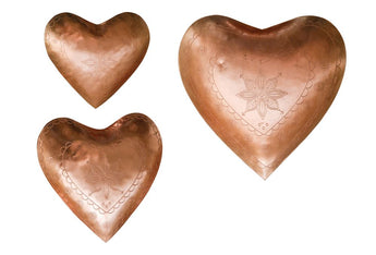 Decorative Embossed Metal Heart Dishes, Copper