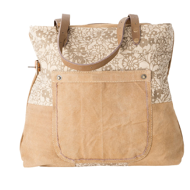 CREAM FLORAL TOTE BAG | Recycled Canvas Bag