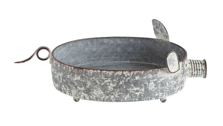 Decorative Metal Pig Container, Zinc Finish