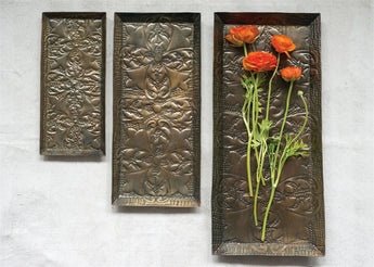 Decorative Embossed Metal Trays, Antique Copper Finish, Set of 3
