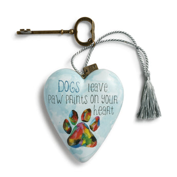Dogs Leave Paw Prints on Your Heart - Art Heart Ornament