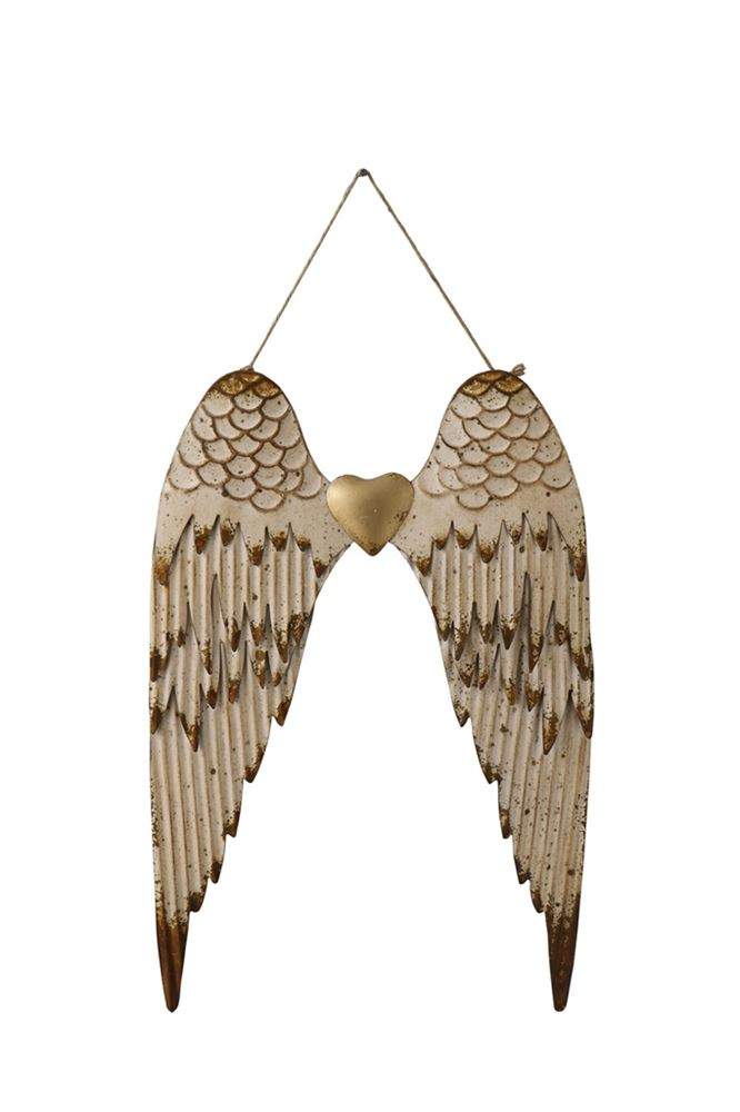 Embossed Metal Angel Wings Wall Decor, 17-3/4