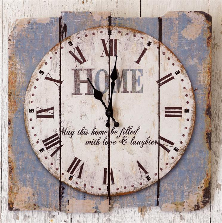 distressed wood clock with saying