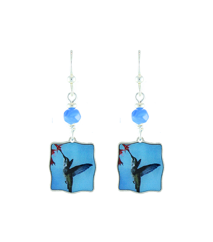 Blue humming bird earrings