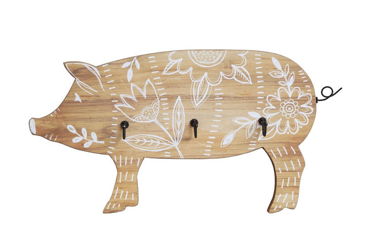 Wooden Pig with 3 Metal Hooks, White Floral Design