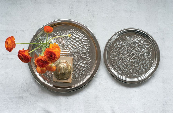 Round Embossed Metal Trays, Silver Finish, Set of 2