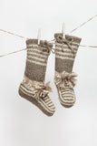 Wool Slippers, Handknit Wool Socks, Warm, Soft, Tall Knitted Socks, Women's Slippers: Valentina