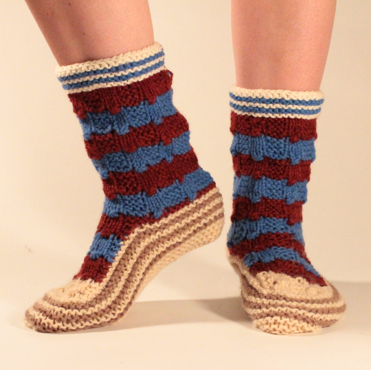Kalina Socks in Blue and Red