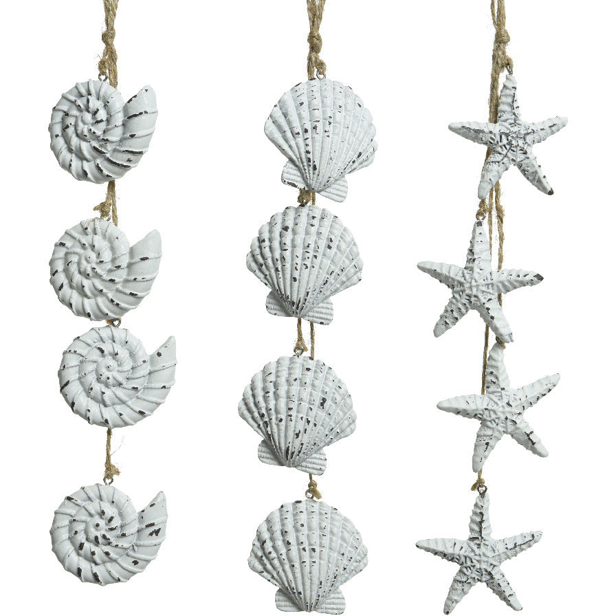 White Washed Seashell Hangers