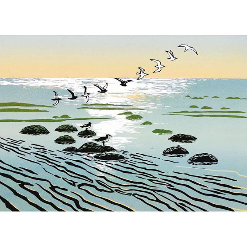 Greeting Card Green Pebble Turn of the Tide