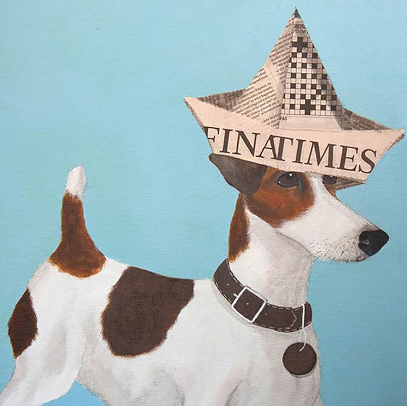 Greeting Card Green Pebble Financial Times Terrier