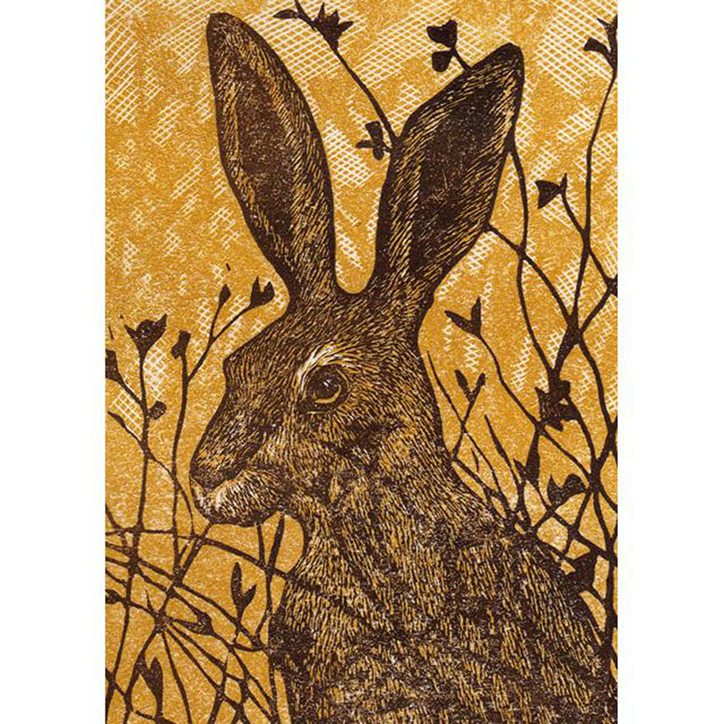 Greeting Card Green Pebble Hare in the Meadow