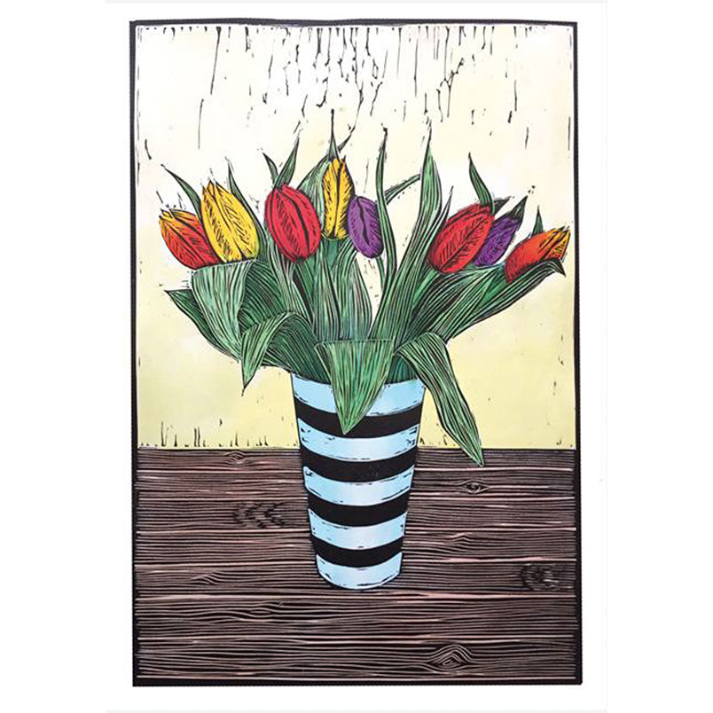 Greeting Card Green Pebble Tulips in Striped Vase