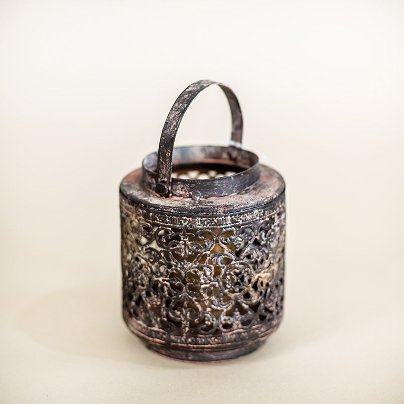 antique rustic tea-light holder