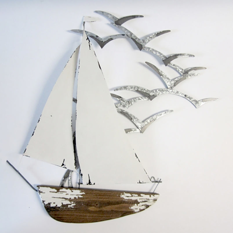 White Yacht with Seagulls Wall Art