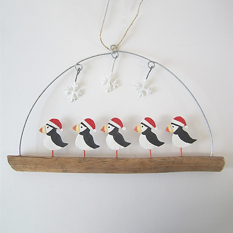 Puffins In Hats on Twig
