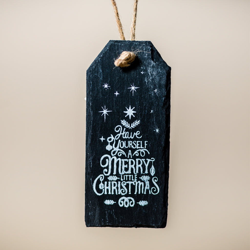 Hanging slate christmas tag