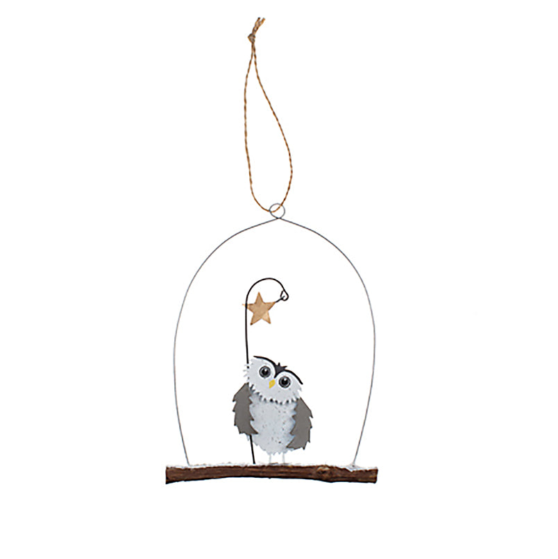 owl holding star hanging ornament