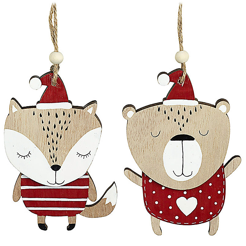 Wooden Fox and Bear Hangers