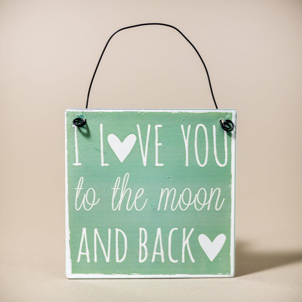 "Mini Metal Sign ""Love you to the Moon & Back"""