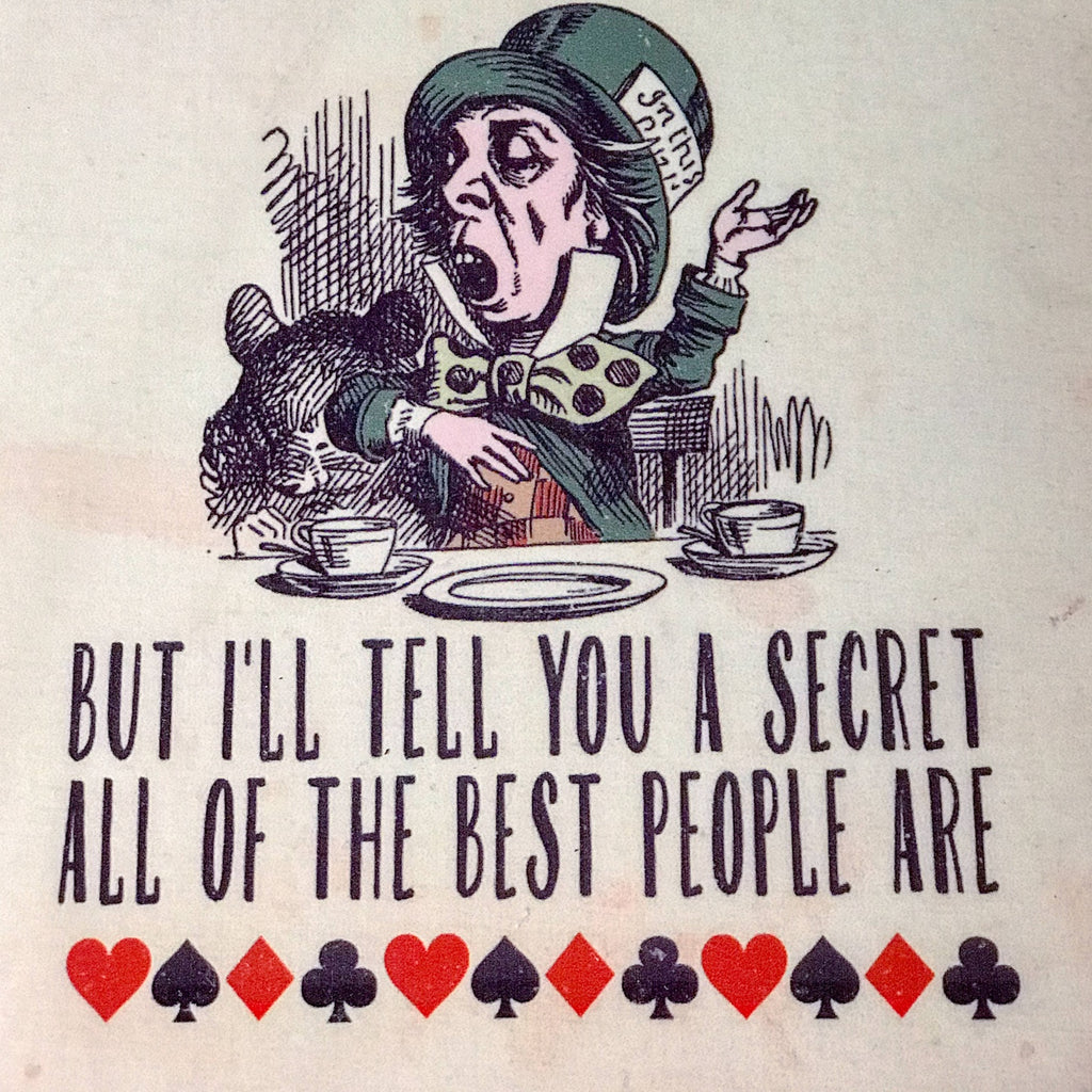 """You're Mad Bonkers"" Retro Metal Alice in Wonderland Tin Sign"