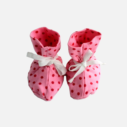 Booties - Light Pink Polkadot
