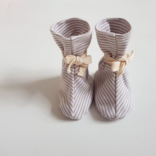Booties - Natural Smoke Grey Stripes