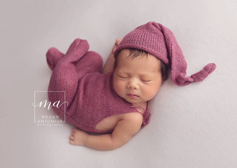 Alpaca Footed Romper and Hat (+Colors)