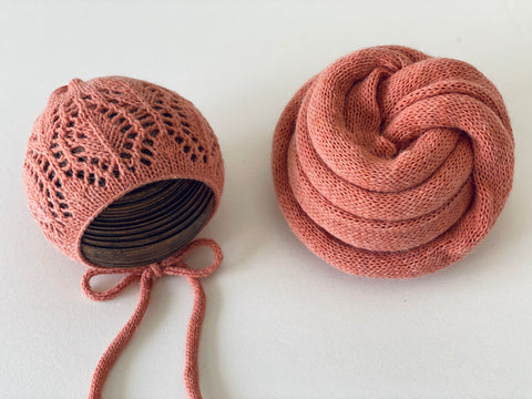 Coral Alpaca Wrap and Lace Bonnet READY TO SHIP