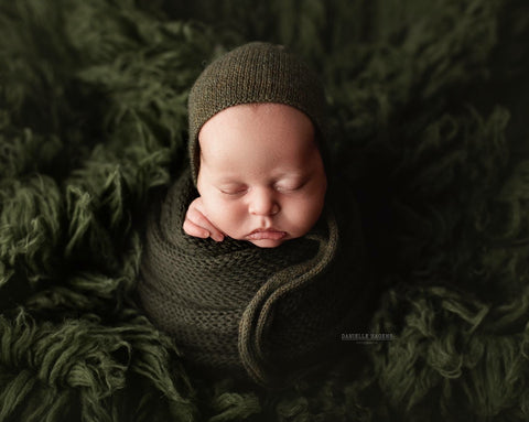 Green Pine Alpaca Wrap and Bonnet