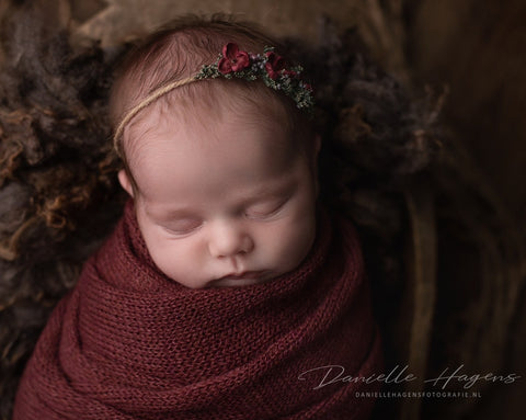 Burgundy Alpaca Wrap and Bonnet