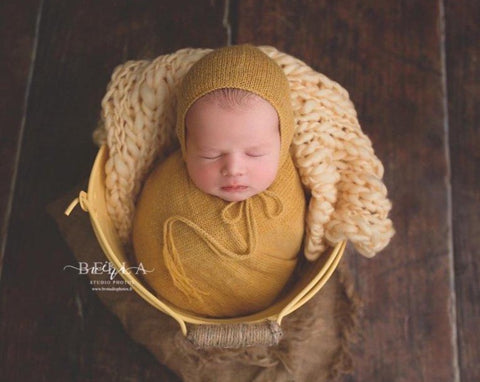 Yellow Alpaca Wrap and Bonnet