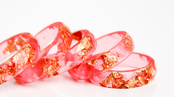 hot summer pink resin ring size 7.5 | thin multifaceted eco resin ring with metallic gold and copper leaf flakes