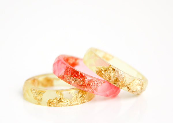 summer gold  size 7 thin multifaceted eco resin ring