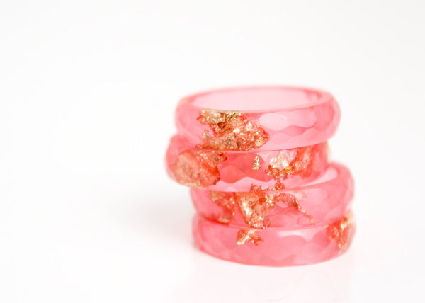 hot summer pink ring size 7 thin multifaceted eco resin ring with metallic gold and copper leaf