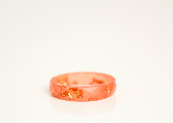 sunset orange size 7 thin multifaceted eco resin ring with metallic gold leaf